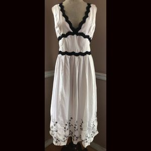 White Cotton Embroidered Summer Dress